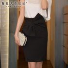 Bow-Accent Pencil Skirt 1596