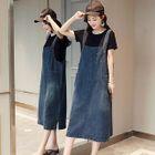 Set: Crew-Neck Short-Sleeve T-Shirt + Denim Midi Pinafore Dress 1596