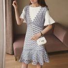 Set: Plain Short Sleeve T-Shirt + Lace Pinafore Dress 1596