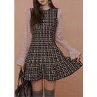 Sleeveless Houndstooth Knit Flare Dress 1596