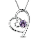 Heart shaped pendant with purple cubic zirconia