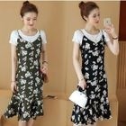 Set: Short-Sleeve T-Shirt + Strappy Floral A-line Dress 1596