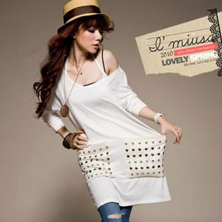 Picture of I'Miusa Studded T-Shirt Dress 1022420221 (I'Miusa Dresses, Womens Dresses, Taiwan Dresses, T-Shirt Dresses)