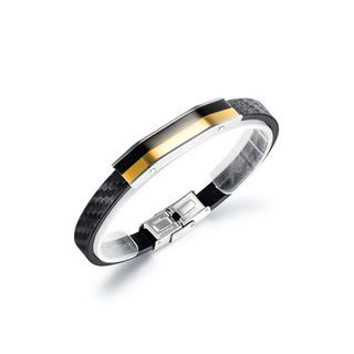 Fashion Personality Black Gold 316l Stainless Steel Geometric Rectangular Leather Bangle Black - One Size