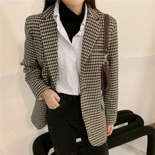 Checked Single-breasted Blazer As Shown In Figure - One Size