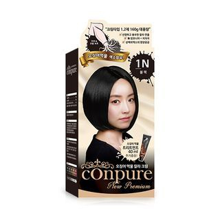 esfolio - Conpure Squid Ink Color Cream (#1N Black): Hairdye 80g + Oxidizing Agent 80g + Hair Treatment 40g 3pcs 1055190352