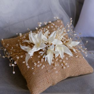 Image of Bridal Faux Pearl Flower Applique Headpiece White - One Size