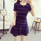 Set: Short-Sleeve Striped Top + A-Line Skirt 1596