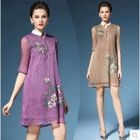 Floral Print Elbow-Sleeve Collared Dress 1596