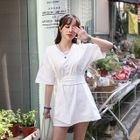 Short-Sleeve Tie-Waist Mini T-Shirt Dress 1596