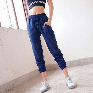 Drawstring Cropped Sports Pants 1063431638