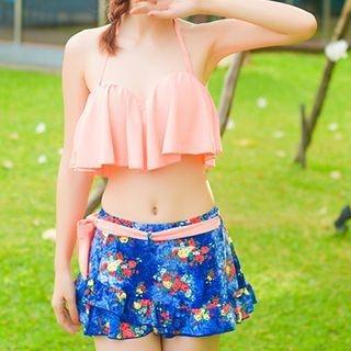 Set: Ruffle Bikini + Floral Print Top 1049932825