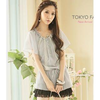 Buy Tokyo Fashion Buttoned Drop-Waist Chiffon Tunic 1023027741