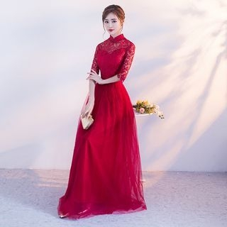Mandarin Collar Lace Panel Elbow-Sleeve Evening Gown 1061637416