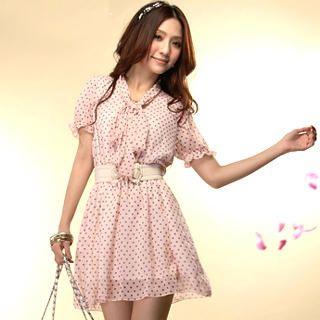 Buy Tokyo Fashion Tie-Neck Polka Dot Chiffon Dress 1022716870