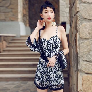 Set: Patterned 2-piece Swimsuit + Cover-up 1060757889