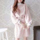 Frill Trim Long Sleeve Furry Dress 1596