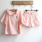 Set: Hooded Short-Sleeve Top + Shorts 1596