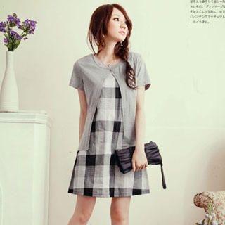Buy YUMI Inset Cardigan Plaid Dress Black & white checker – One Size 1023030221