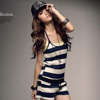Buy PUFFY Striped Strapless Jumpsuit 1023030266
