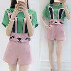 Set: Rabbit Printed Short-Sleeve Top + Shorts 1596