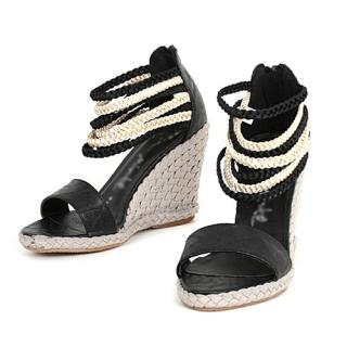 Picture of CLICK Braided Strap Wedge Sandals 1022752455 (Sandals, CLICK Shoes, Korea Shoes, Womens Shoes, Womens Sandals)