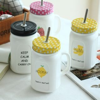 Printed Cup with Lid and Straw 1061395374