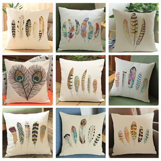 Image of Feather Print Sofa Cushion Cover