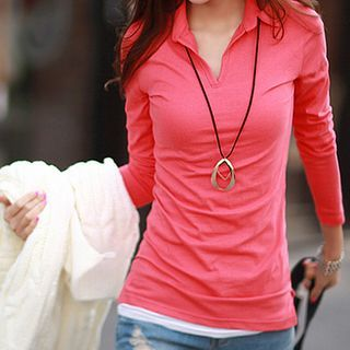 Image of Plain Long-Sleeve Collared T-Shirt