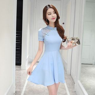 Mandarin Collar Lace Panel Skater Dress 1049587507