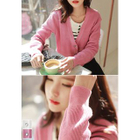V-Neck Metallic-Button Ribbed Cardigan 1596