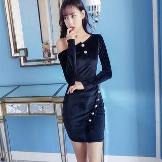 Off-Shoulder Velvet Bodycon Dress 1056984651