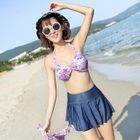 Set: Floral Bikini Top + Swim Skirt + Cover-Up Top 1596
