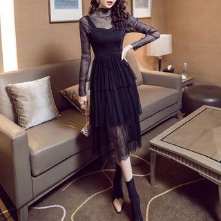 Long-sleeve | Spaghetti | Strap | Dress | Mesh | Top