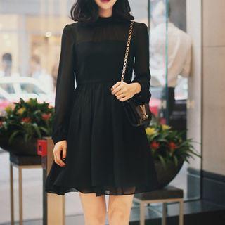 Long-sleeve   Chiffon   Dress   Mini