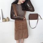 Striped Long-Sleeve T-Shirt / Plain Midi Suspender Dress 1596