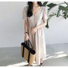 Puff-Sleeve Buttoned Linen Long Dress 1596