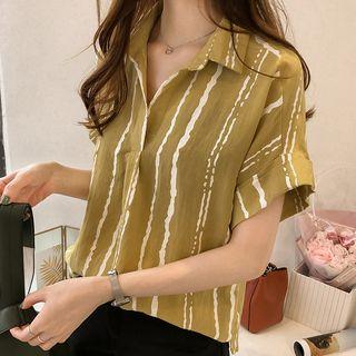 Bamela Short-Sleeve Striped Blouse