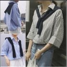 Pinstripe Elbow-Sleeve Linen Cotton Blouse 1596