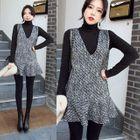 Set: High-Neck Long-Sleeve T-Shirt + Ruffle Hem Sleeveless Dress 1596