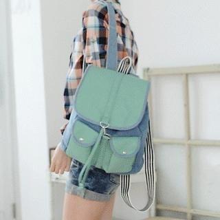 Contrast-Color Denim Panel Backpack