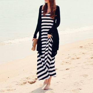 Set: Light Jacket + Striped Dress Black White - One Size 1054929424
