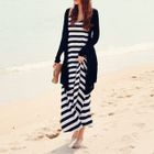 Set: Light Jacket + Striped Dress Black White - One Size 1596