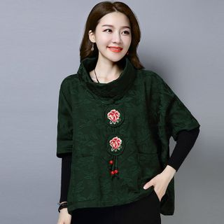 Image of Cape-Sleeve Embroidered Top