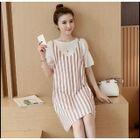 Set: Ruffle Trim Short Sleeve T-Shirt + Striped Pinafore Dress 1596
