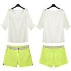 Set: Sheer Short-Sleeve Top + Shorts 1596