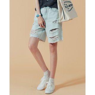 Distressed Washed Denim Shorts 1060290610