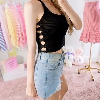 Perforated Sleeveless Knit Top 1061430180