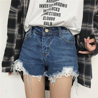 Lace Trim Denim Shorts 1059855852