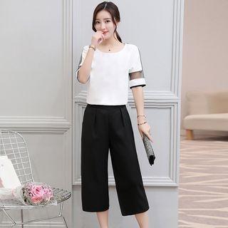 Set: Mesh Panel Short-Sleeve T-shirt + Capri Wide Leg Pants 1060696564